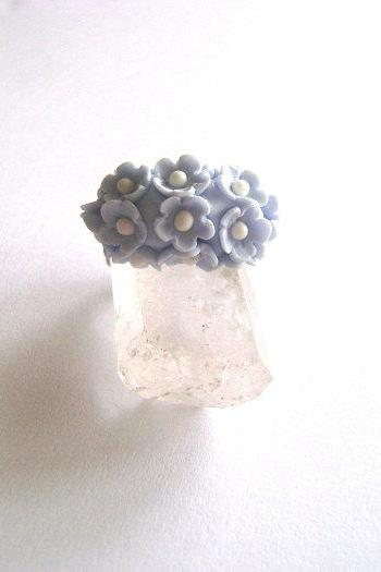 Forget Me Not Ring - Adjustable clay Ring- Made-to-order