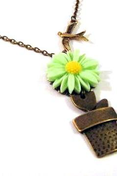 Bronzed flowerpot with light green sunflower necklace jewelry - Sparrow necklace