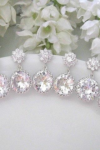 Set of Four (4) Cubic Zirconia Flower Post With Clear White Round Cubic Zirconia Drop Earrings - Bride, Bridesmaids, Maid Of Honour, Wedding