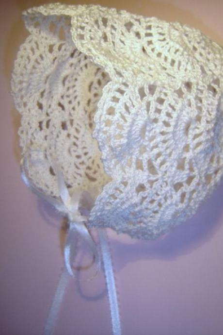 Bonnet MADE TO ORDER Crochet Heirloom Christening or Baptism Baby Bonnet Newborn/Doll 0-3 Months More colors available