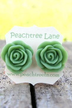 Large Apple Green Rose Flower Stud Earrings perfect for Bridesmaid or Maid of Honor Gifts