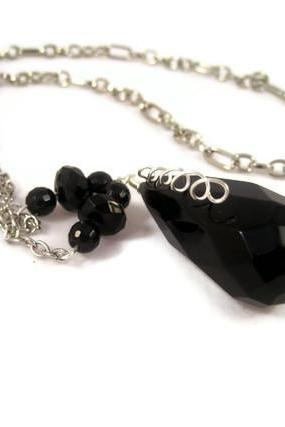 Necklace, Faceted Black Obsidian and Black Onyx Gemstones on Long Silver Chain, Lariat Like