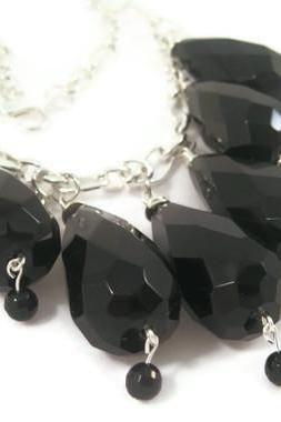 Necklace, Black Obsidian Oversized Statement Necklace with Black Onyx on a Silver Chain