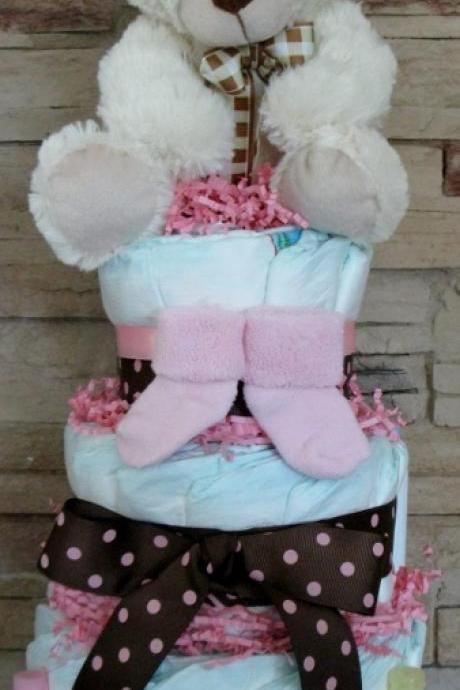 New baby gift baby shower gift diaper cake baby centerpiece