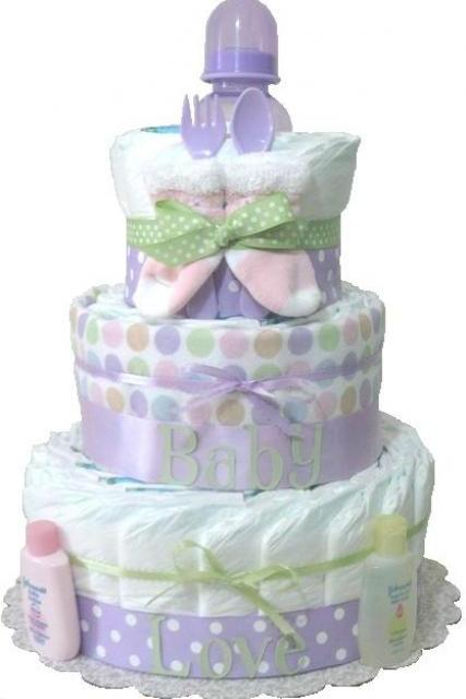 Baby gift baby diaper cake lavender baby shower gift new mom centerpiece