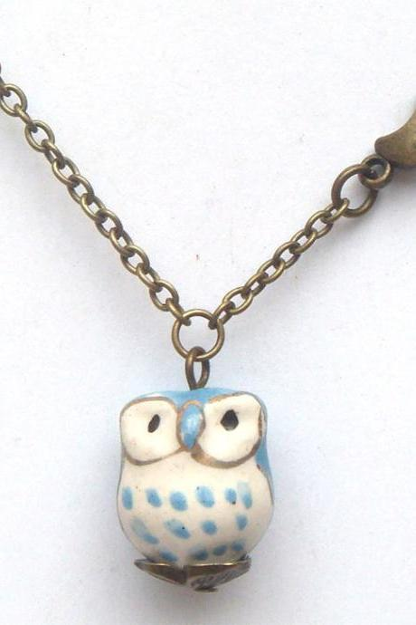 Antiqued Brass Moon Porcelain Owl Necklace