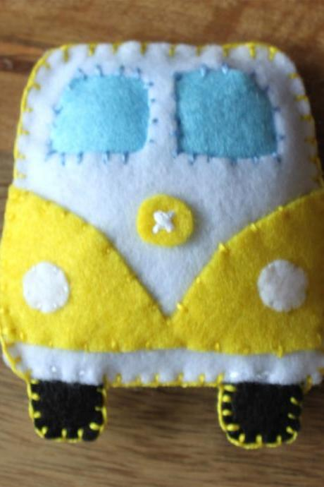 VW Classic campervan Yellow Toy Plushie Air Freshener Felt