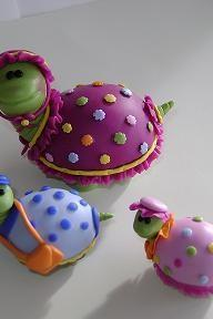 Handmade Clay Turtle Family Sculpture- Cake Topper
