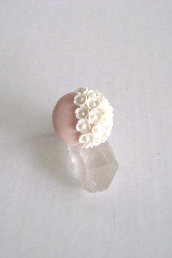 Pink and White Clay Adjustable Ring
