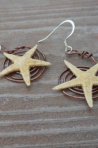 Starfish Earrings - Handmade Seashell Jewelry - Starfish with Swirling Copper Wire Design
