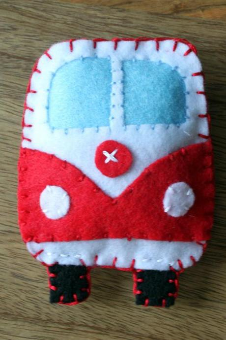VW Classic campervan Red Toy Plushie Air Freshener Felt