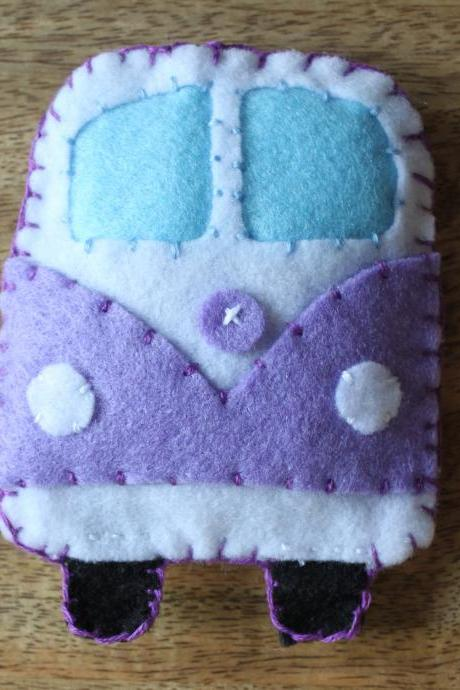 VW Classic campervan Purple Toy Plushie Air Freshener Felt