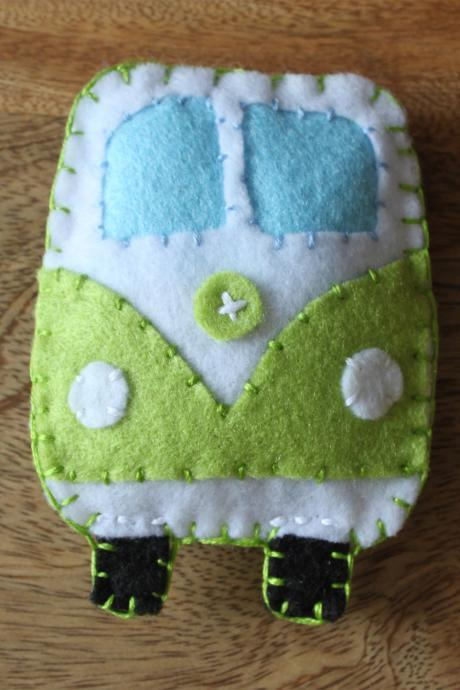 VW Classic campervan Green Toy Plushie Air Freshener Felt