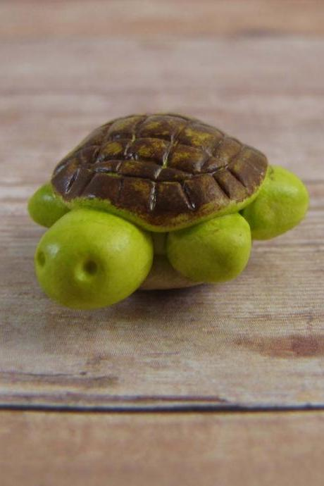Tiny Green Turtle Figurine