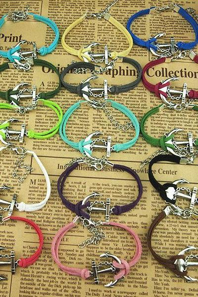 15 Colors Handmade charm bracelet,Chain anchor Bracelet,Korean wax cords bracelet,Colorful ropes bracelet -Simple Gift or boys and girls