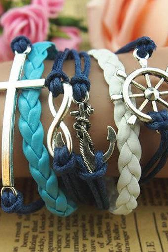 Cross Hand Chain,Helm & Anchor Bracelet Charm Bracelet Wax Cords Bracelet Gift bracelet Gift For Girl Braid Leather Free Gift