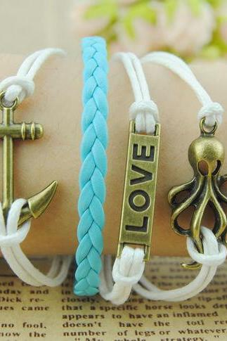 octopus Bracelet, Love Bracelet, Anchor bracelet with Bronze Charm bracelet,Flocking Braided Leather Bracelet, Friendship gift for boy girl