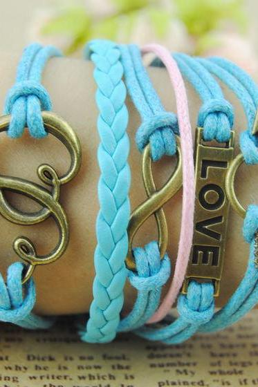 Heart To Heart Bracelet,Handmade Blue braid Leather charm bracelet,Love infinity Bracelet,Cupid's Arrow bracelet,Wax ropes bracelet gift