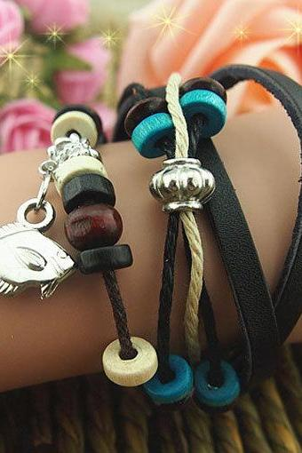 Adjustable Charm Bracelet Cuff made of Leather Ropes and Wax cords bracelet,Wooden Beads bracelet,Metal button bracelet,Punk style-Free Gift