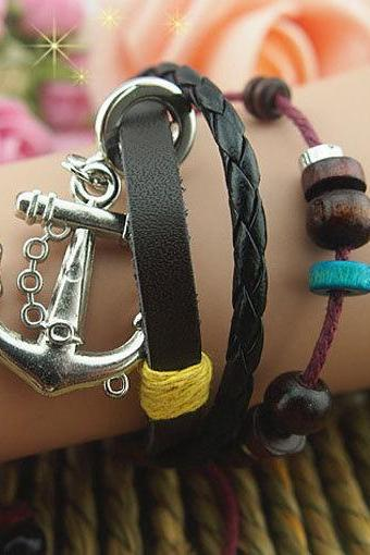 Women or Girls Charm Bracelet Made of Leather Ropes, Color Wooden Beads bracelet, Anchor Pendant Braid leather bracelet,Gift-personalized