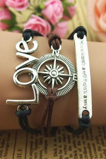 The Motto Bracelet ,Compass charm bracelet and love Bracelet in Antique Silver,Handmade Wax cords bracelet, gift -personalized-Free Gift