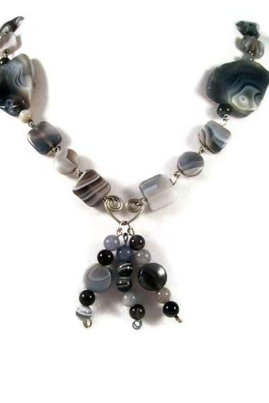 Necklace, Botswana Agate Gemstones with Wire Wrapped Heart, Blue, White, Grey and Black Gemstones on Beaded Necklace