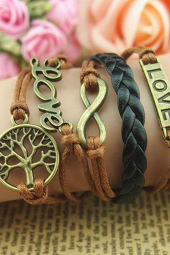 Antique Bronze Bracelet,Infinity bracelet, Wish tree and Love bracelet, Motto Bracelet Black braid leather bracelet,Brown wax cords bracelet