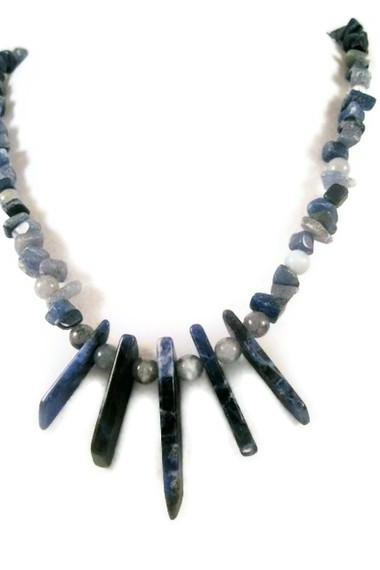 Necklace, Denim Lapis and Lapis Lazuli Fanned In Bid-Like Style with Blue Sodalite Gemstone Chips