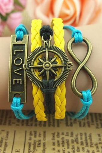Compass charm bracelet,Motto love bracelet,Infinity bracelet,Blue wax ropes bracelet,Yellow braid leather bracelet,Antique Bronze Bracelet
