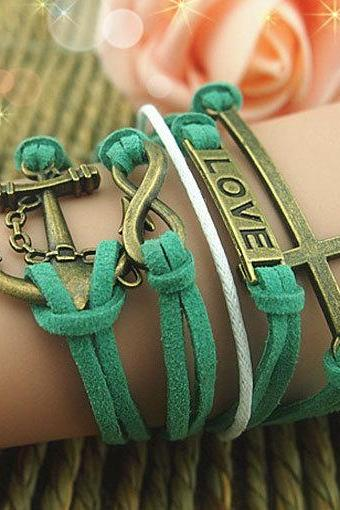 Infinity Bracelet Love Bracelet,Anchor Cross Bracelet,Antique Bronze-Wax Cords ImitationLeather Bracelet Personalized charm bracelet