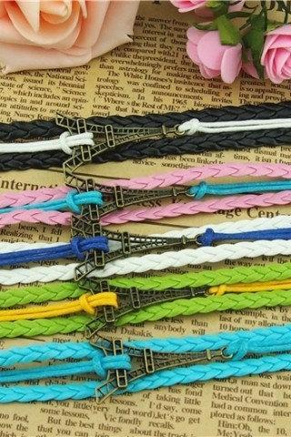 5 Colors Charm Bracelet Eiffel Tower Bracelet, Wax Cords and Braid Leather Bracelet in Antique Bronze,Unique Handmade Bracelet-Free gift