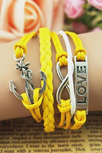 Yellow Charm Bracelet,Infinity love anchor bracelets, yellow wax cords and braid leather charm bracelet, a gift for girlfriend personalized