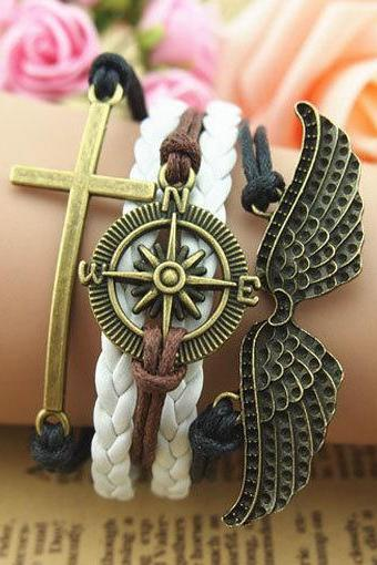 Handmade Antique Bronze Bracelet,Wings Bracelet, Compass and Cross Charm Bracelet in Bronze,Wax Cords and White Leather Braid Bracelet