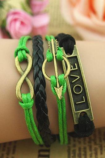 Fashion Handmade Antique Bronze Bracelet,Cupid's Arrow & Love Bracelet, made of braid leather and Green Wax Ropes Bracelet,Infinity Bracelet
