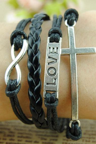 Handmade Charm Bracelet,Love, Infinity & Cross Bracelet--Antique Silver,Wax Ropes and Imitation Leather Braid Bracelet-Personalized Bracelet