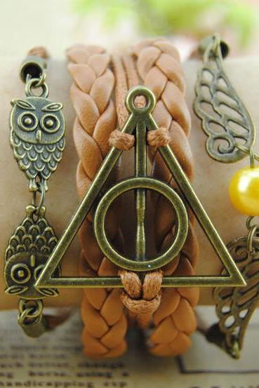 Bronze Charm Bracelet,Harry Potter Deathly Hallows Bracelet,Two Wings Bracelet,Two Owls Bracelet,Braid Leather Bracelet-Best Gift