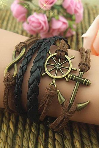 Unique Hand ChainHelm & Anchor Bracelet Charm Bracelet Wax Love Chain Cords Bracelet Gift Bracelet Girl's Gift Braid Leather Free Gift