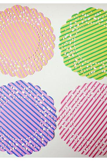 Parisian 2-colored Stripe Polka Dot Doily paper / pack