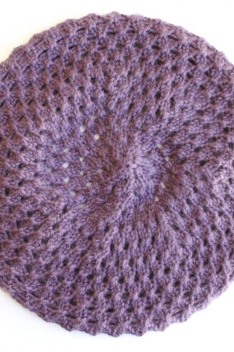 Beret knitted in lavender, blackberry texture: READY TO SHIP