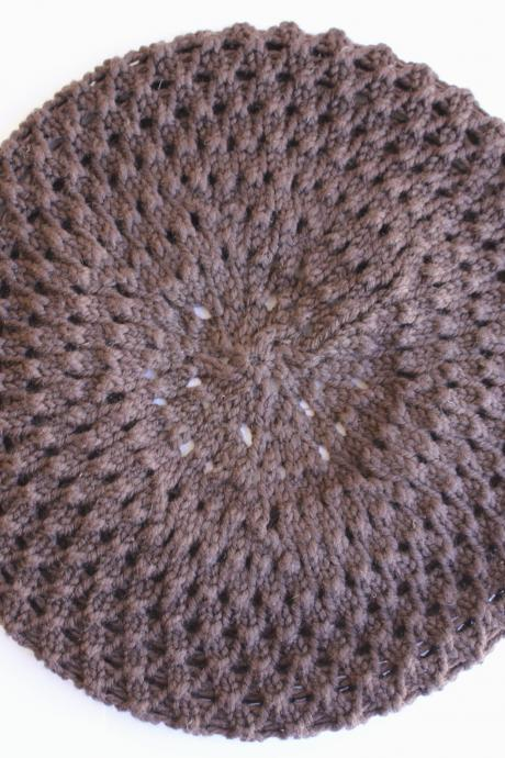 Knitted beret hat in chocolate brown, honeycomb texture: READY TO SHIP