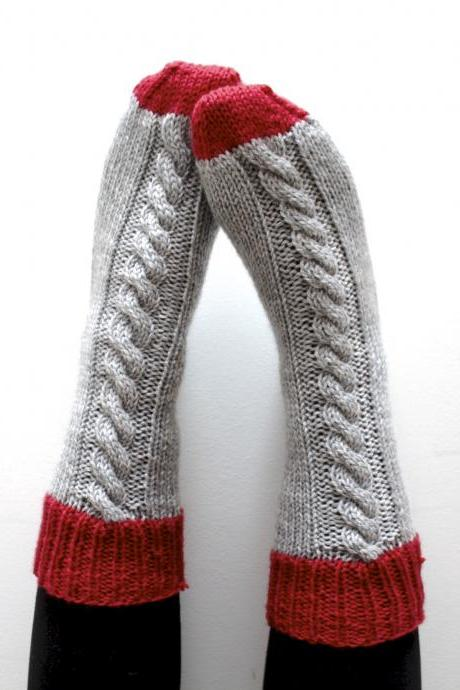 Knitted bed socks, 100% merino wool grey and red - ready to ship