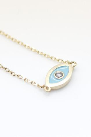 EVIL EYE Pendant Necklace detailed in CZ setting Gold