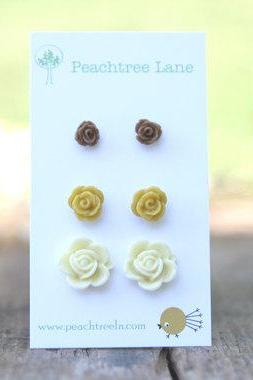 Small Mustard Yellow Rose Flower Earrings // Tiny Brown Rose Earrings // Cream Rose Earrings // Bridesmaid Gifts // Vintage Wedding