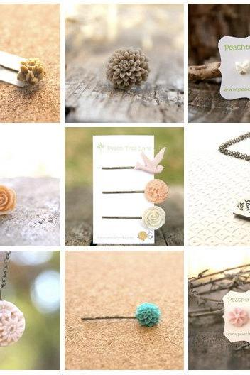 Mystery Grab Bag Assortment of 7 // Flower or Charm Necklaces // Single Hairpins // Flower Rings // Flower Earrings