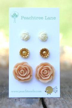 Large Peach Rose Flower Earrings // Metallic Gold Daisy Earrings // Cream Ivory Rose Earrings // Bridesmaid Earrings Bridesmaid Gifts