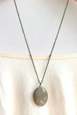 Grey Locket Necklace // Bridesmaid Gifts // Vintage Wedding // Long Locket Necklace