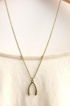 Wishbone Necklace // Antique Bronze Lucky Wishbone Necklace // Bridesmaid Gifts // Valentines Day Gift