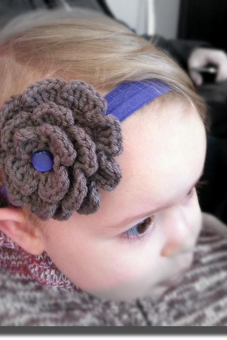 Crochet Flower Headband Taupe and Purple