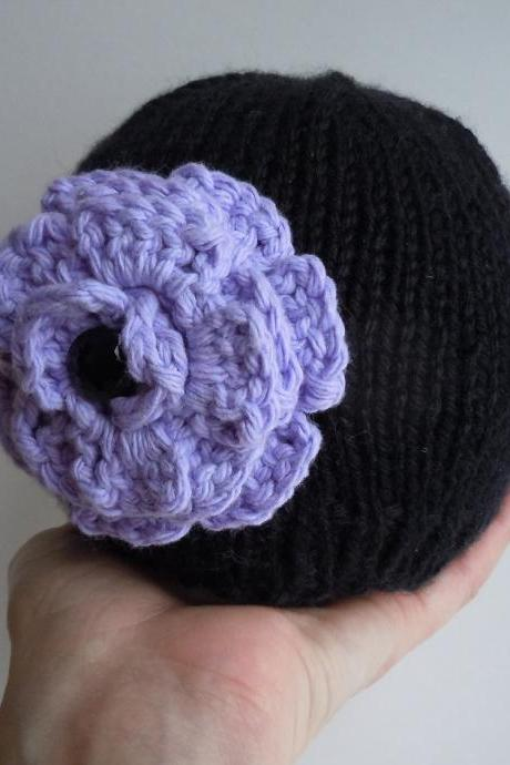 Baby Black Knit Beanie Hat with Purple Crochet Flower