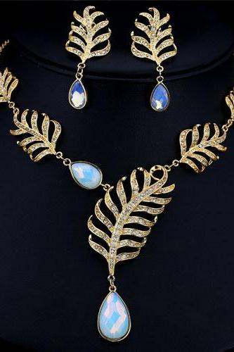 Jewelry Set Elegant Noble Moonstone Gold Plated